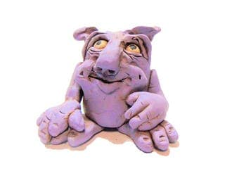 One of a kind Art Doll Beastie , Purple Polymer Clay Figure - Smiling monster doll- polymer clay art doll - Nursery decor