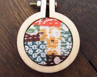 Boro Stitching Mini Embroidery Hoop Pendant - Necklace