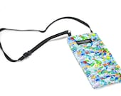 Seaglass fabric Eyeglass Reader Case -with adjustable neck strap lanyard