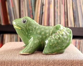vintage McCoy frog planter . green ceramic frog, Nelson McCoy