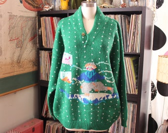 vintage green wool kite sweater . Carli Gry shetland wool novelty knit sweater, oversized pullover . volup plus size, fits up to APPROX 2x