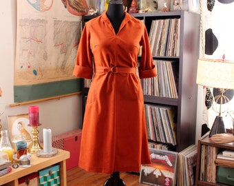 rust orange 1970s dress . vintage 70s belted dress, washable ultrasuede midi dress womens size large
