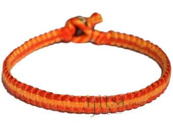 Tangerine and tangelo orange flat cotton bracelet or anklet