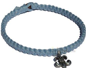 Sky Blue Wide Flat Hemp Necklace with  Fleur-de-lis Pewter Pendant