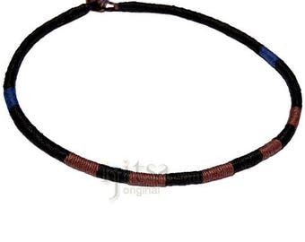 Leather necklace wrapped with black, brown and dark blue hemp