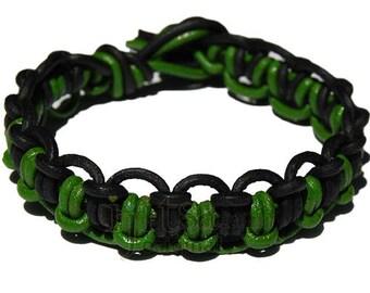 Parrot green and Black matte interlocked leather bracelet or anklet