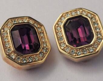 SAL Swarovski Purple Earrings, Vintage Swarovski Earrings, Swarovski Amethyst Crystal Earrings, Swarovski Button Earrings, Swarovski Jewelry