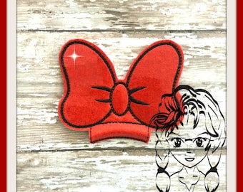BoW Ms Mouse Center (Add On ~ 1 Pc) Mr Miss Mouse Ears Headband ~ In the Hoop ~ Downloadable DiGiTaL Machine Embroidery Design by Carrie