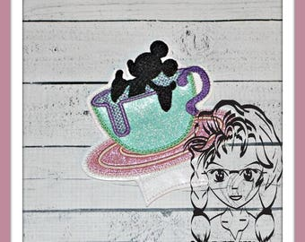 TeACUP Center or Ear (Add On ~ 1 Pc) Mr Miss Mouse Ears Headband ~ In the Hoop ~ Downloadable DiGiTaL Machine Embroidery Design by Carrie