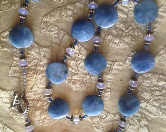 """Blueberry Quartz Opaline Pewter Toggle Clasp 28"""" Long """"Summer Sky-Scape"""""""