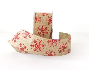 Rustic Christmas Snowflake Ribbon 1.5 Inch Wide Faux Jute Ribbon with Red Snowflakes Gift Wrap 5 Yards