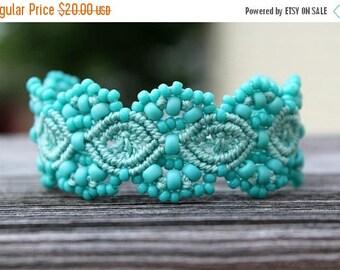 SUMMER SALE Micro-Macrame Beaded Cuff Bracelet - Turquoise