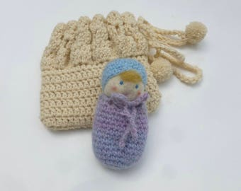 Waldorf Doll Cradle Purse Set doll and cradle set