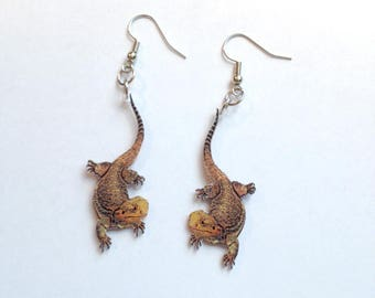 Handcrafted Plastic Bearded Dragon Earrings Made in USA