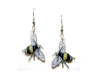 Handcrafted Plastic Bumble Bee Earrings Made in USA