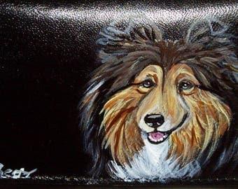Sheltie Shetland Sheepdog Dog Custom Painted Leather Deluxe Checkbook Cover