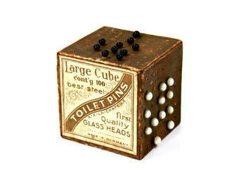 Antique Large Cube of Toilet Pins for Sewing Jet Black White Glass Heads Japanned Stems Made in Germany Box Circa 1900