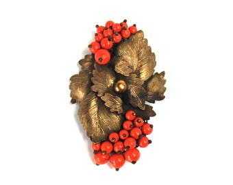 Antique Early Miriam Haskell? Dress Clip Brooch Coral Glass Beads Berries Brass Leaves Unsigned Metal Back circa 1940