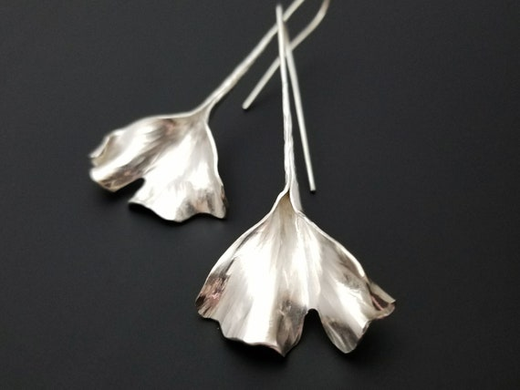 Silver ginkgo leaf earrings- dramatic and elegant - art nouveau style jewelry - handmade in Michigan