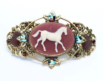 Horse Hair  Barrette  Cameo with Beach Glass and Crystal Accents