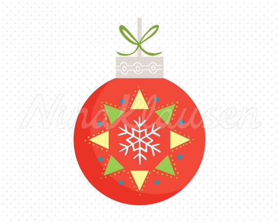 Red Christmas Bauble Clipart for Commercial Use - 0005