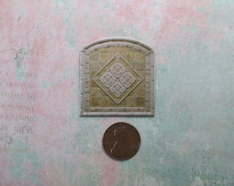 Dollhouse Miniature Arched Cream Tile Mural