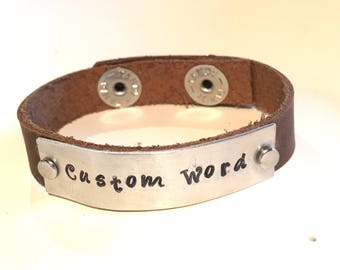 Custom Personalized Word Bracelet Leather Mood Lifting Motivational Inspirational Favorite Quote