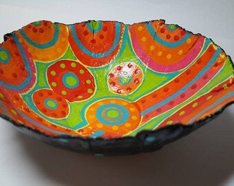 Paper Clay Bowl Hand Painted 60's style