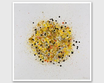 """Abstract PRINT of Painting """"Petales Jaunes"""" by Lisa Carney - Splatter, Large wall art, Giclee Print, Modern painting, Yellow, Brown, White"""