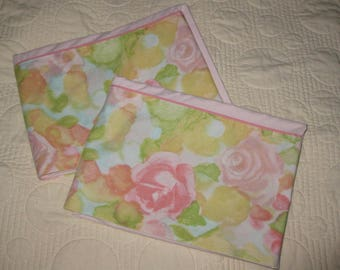 Vintage Pillowcases, Two Matching Floral and Pink Pillowslips, Watercolor Look Flowers, Seventies 1970s Retro, Cannon Royal Family Standard