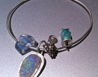 Drusy Bracelet, Silver Bracelet, Charms Bracelet, Amazonite, Labradorite, Silver bangle Gem Bliss