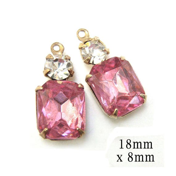 pink rhinestone octagon earring jewels paired with tiny rhinestones in a multi stone setting