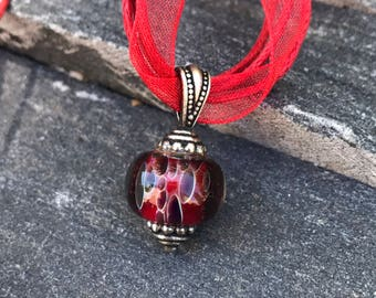 Pendant Necklace - Lampwork Necklace - Red Spotted Boro Necklace