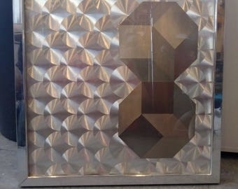 Vintage 1970s Wall Hanging Op Art Silver Mod Geometric Discs Hexagons Framed