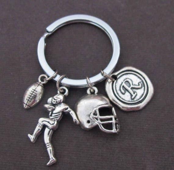 Football player keychain,Football Charm Keychain,Football helmet,Football keychain,Football Team Gift,High School Football,Free Shipping USA