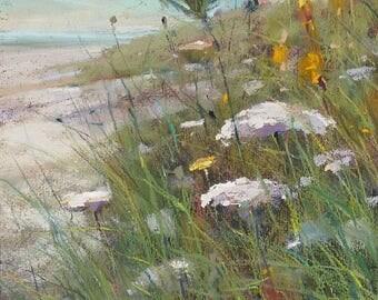 IRELAND Seashore Wildflowers Dunes plein air  Landscape Original Pastel Painting Karen Margulis 10x8