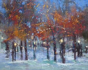 Winter Landscape with Christmas Lights Original Pastel Painting  Karen Margulis