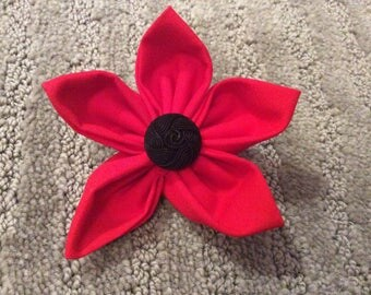 Red Fabric Flower Brooch Pin