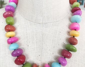 Stone beaded necklace, rainbow, colorful, boho, handmade, statement - Candy Shop