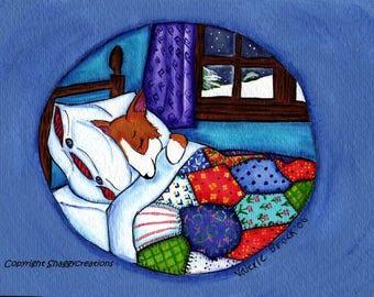 PEMBROKE WELSH CORGI  Art Print Corgi Winter's Nap ~ Corgi Art Print Snow Quilt Christmas  Dog Art  Dog Lovers Gift Holiday Dog Art Print