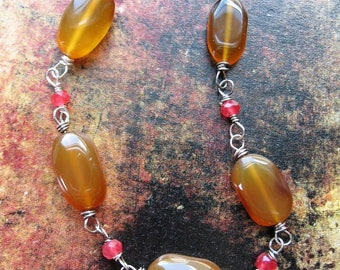 Maple Chalcedony and Red Quartz Antiqued Sterling Bead Chain - 6 inches in length