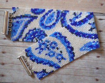 Pattern: 2-drop Even Count Peyote Stitch, Blue & White Paisley, Instant Download
