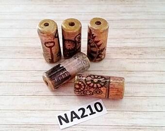 Steampunk Beads -  Handmade Paper Tube Beads  - Set/5 -  NA210