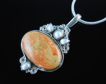 Italian coral & freshwater pearl sterling silver pendant/necklace