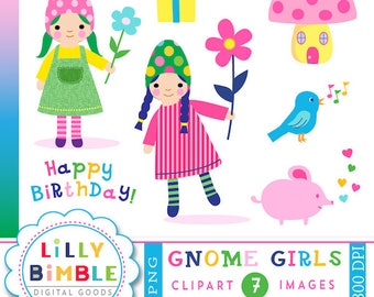 60% off Cute Gnome Girl Clipart, Elves, Fairies, BIrthday Party, Mushroom House, Flower, Instant Download