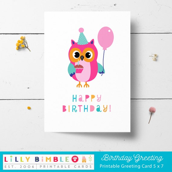Owl Birthday Card Printable Instant Download Print Yourself Diy
