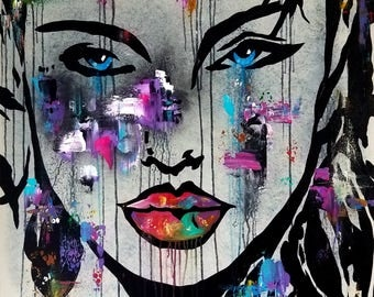 Abstract painting Modern pop Art Contemporary colorful portrait face decor by Fidostudio - SEKS