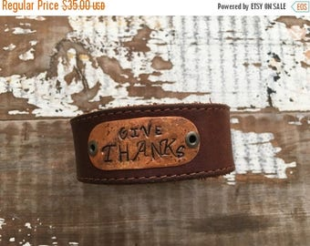 SALE- Stamped Leather Cuff-Give Thanks-Word Cuff-Thanksgiving Collection
