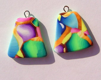 Disco Charms Handmade Artisan Polymer Clay Pair