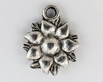 15mm Antique Silver 7 Petal Flower Charm #CHA065